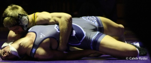 UNI's Jarrett Jensen works for the pinfall against ODU's TC Warner