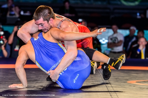 Brent Metcalf at the 2015 World Cup. Tony Rotundo - Wrestlersarewarrios.com
